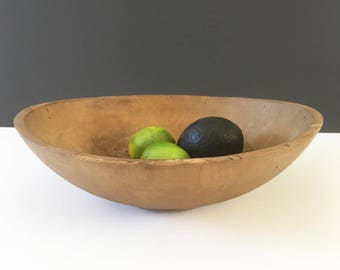 Antique wood dough bowl, circa 1900, trencher, primitive, farmhouse, cottage, rustic decor