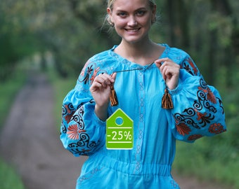 in stock 1 piece, Turquoise catsuit,Ukrainian vyshyvanka,embroidery,Exclusive  Women's Clothing