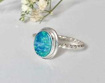Australian Opal Stacking Ring // Opal Jewelry // Natural Gemstone Ring // Sterling Silver