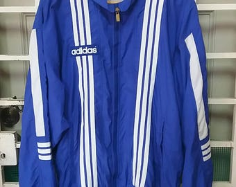Vintage Adidas three stripe windraker jacket with stripe/blue/made in japan