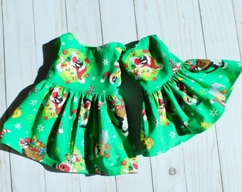 """18"""" Doll Green Christmas Dress to Fit Like American Girl Doll Clothes, 18"""" Doll Dress, 14"""" Doll Wellie Wisher Dress, 18 Inch Doll Dress"""