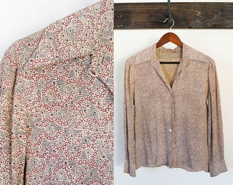 tan 70s long sleeve patterned button up blouse, size small