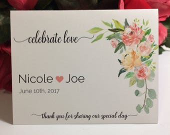 Coral Watercolor Floral, Bird Seed or Wildflower Folders, Wedding Favor, Celebrate Love, 20 Personalized Wedding Favors