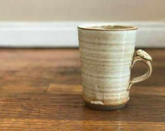 Handmade Mug Brown Stoneware Clay Speckled White, Pottery Stoneware 20oz Coffee Tea Cup