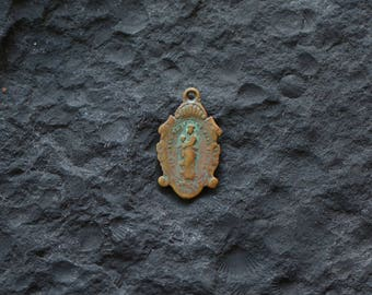 Brass Religious Medal Our Lady Victory Pray for Us