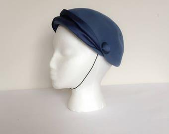 1960s Blue Felt Hat Vintage