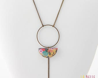 long necklace Locket resin half moon pattern floral yellow mustard