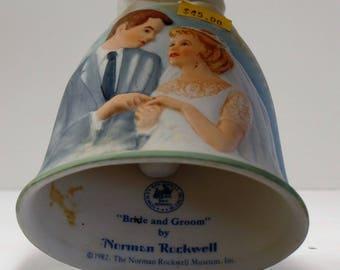 "Vintage Norman Rockwell ""Best Wishes Bride And Groom"" Porcelain Bell"