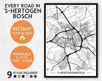 Den Bosch map print, Printable The Netherlands map art, 's-Hertogenbosch print, 's-Hertogenbosch art, 's-Hertogenbosch poster, Holland map