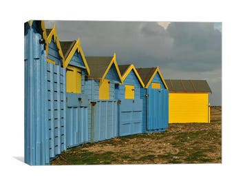 Blue and Yellow Beach Huts Canvas Print