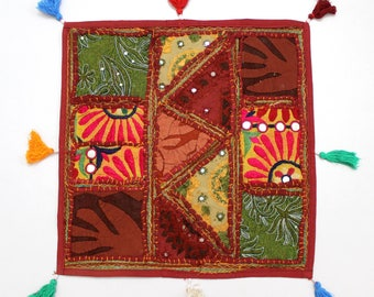 Handmade Hippie Gypsy Home Decor Ethnic Multi color Embroidered Hippy Patchwork Bohemian Pillow Shams Couch Cushion Cover Case G740