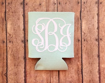 Monogram Can Cooler - cute can cooler - personalized can cooler - monogram initials - girly can cooler - initials can cooler - can holder -