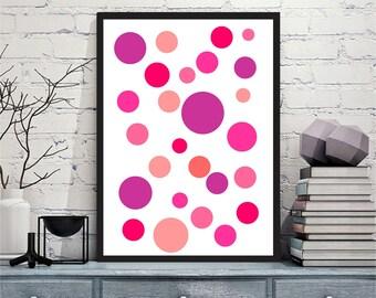 Printable art Digital Prints pink dots nursery modern wall art printable art, printable prints