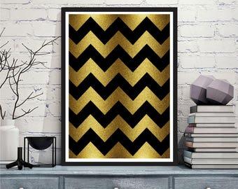 Printable art Digital Prints gold and black chevron modern wall art printable art, printable prints