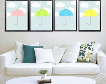 4 prints Printable wall art set Digital Prints nursery umbrella home decor
