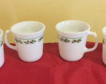 Christmas Corning Ware Holly Mugs Set Of 4 Pyrex Cups Holiday