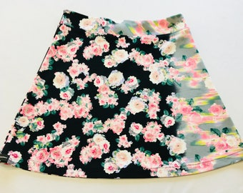 Creamy Pink Carnations Blur to Gray on Black Light Weight Stretchy Knit Skirt A-line Cut Skims over Hips Hidden Adjustable Tie in Waist Band