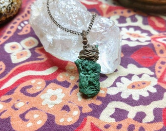 Raw Malachite and Copper Pendant