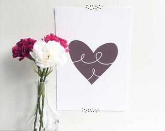 Scandi Love Heart Print   Love Print   Nursery Decor   Personalised print   Baby shower gift   Wedding Print   Engagement Print
