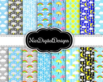 Buy 2 Get 1 Free-16 Digital Papers. Different kinds of  Weather (3A no 3) for Personal Use and Small Commercial Use Scrapbooking
