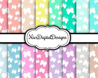 Buy 2 Get 1 Free-16 Digital Papers. Butterflies in Pastel Colors (2H no 1) for Personal Use and Small Commercial Use Scrapbooking