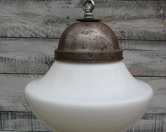 Vintage White Glass Globe Pendant