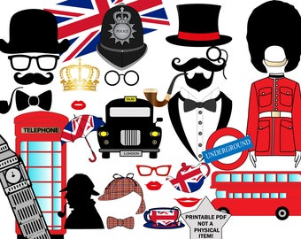 "British Photo booth Party: ""LONDON PHOTO BOOTH"" London Theme party,England Photo prop,England photobooth,travel photo booth,Printable Pdf"