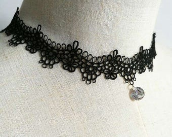 Vintage Black Lace with Crystal Choker