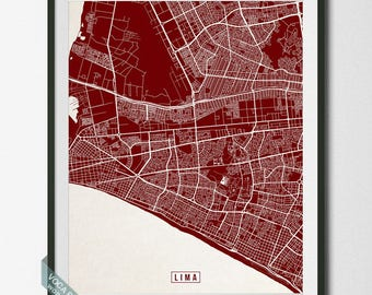 Lima Street Map, Peru Poster, Lima Print, Lima Map, Peru Print, Peru Map, Room Decor, Livingroom Art, Wall Print, Dorm Decor