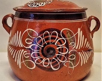 Mid Century Tlaquepaque Style Handmade Floral Folk Art Mexican Clay Red Ware Bean Pot