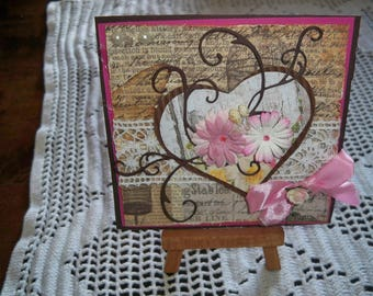 card with heart envelope provided