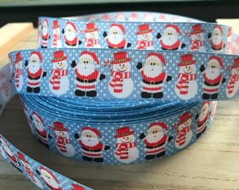 "1"" Christmas Santa Claus Snowman Grosgrain Ribbon By the Yard BTY Ribbon Christmas Xmas Blue Red"