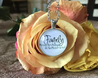 "Quote pendant Necklace ""Family Forever For Always & No Matter What"" Initial silver gift"