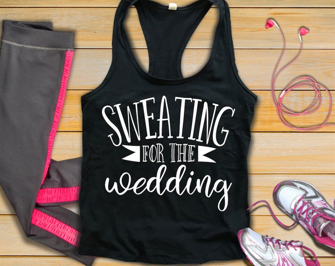 Sweating For The Wedding-Womans Fitness Tank Top-Bride Workout Tank-Bella Canvas Flowy Tank Top-Loose Fit