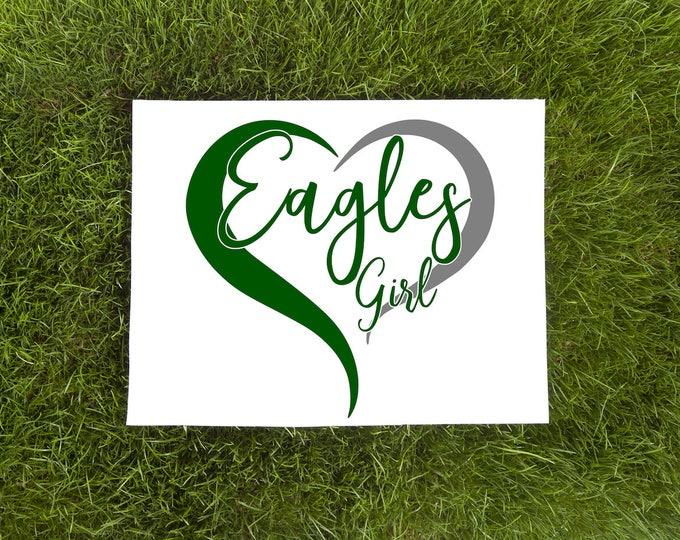 Eagles Girl-Eagles Double Heart Vinyl Decal-Philadelphia Love Vinyl Decal-Car Decal-Tumbler Vinyl Decal
