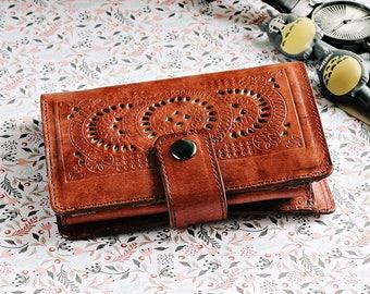 Kelimutu Women Wallet Carved Wallet Women's Genuine Leather Wallet Card Dark Brown GIFT Handmade Cards Cash, Coin Pocket Wallet