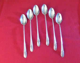 Vintage Ice Tea Spoons Silver Plate by Wm. Rogers Mfg Co - Set of 6 - 1941 TRIUMPH Pattern