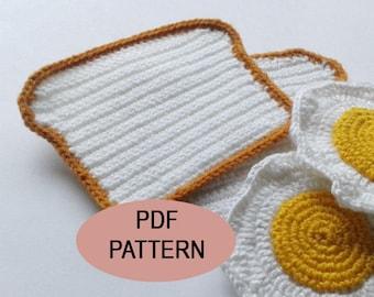 Crochet Bread Coaster PDF Pattern, bread crochet coasters, patterns&tutorials, drink coasters