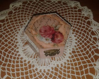Box jewelry box decoupage rose