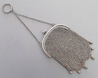 Antique Solid Silver Mesh Purse with Integrated Finger Loop and Chain
