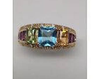 Vintage 14K Yellow Gold Blue Topaz Amethyst Peridot Citrine and Diamond Ring
