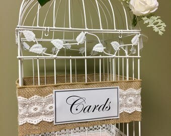 Burlap and Lace Ivory Wedding Birdcage, Card Bird cage, Garden Theme, Rustic Chic Wedding Card Bird Cage, White Roses