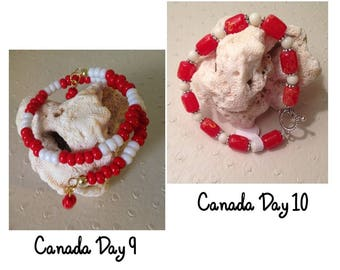 CANADA DAY bracelets (2) #canadaday #bracelets #redandwhite #red #white #oneofakind #handcrafted