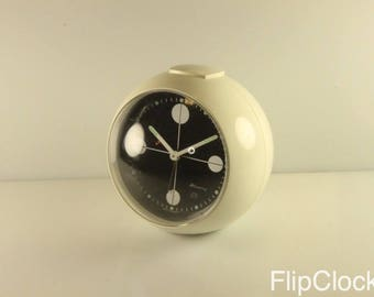 Vintage Blessing round alarmclock without pedestal, white (restored)