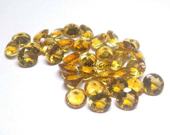 10 pieces 5mm Citrine Faceted Round Gemstone AAA+ Quality Citrine Round Faceted Loose Gemstone