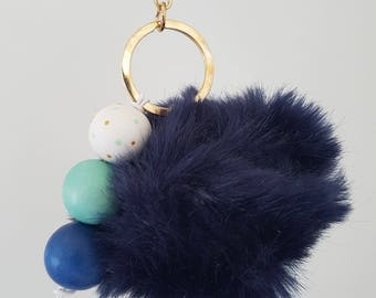Navy Fluffy Wooden Bead Keyring