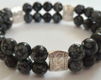 Double strap snow Obsidian beads 6 mm and separations in Tibetan silver