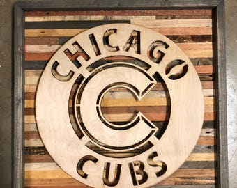 Rustic Chicago Cubs wall art