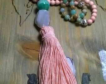 Tassel chain of Jasper agate beads