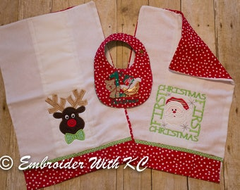 First Christmas Monogrammed Baby Set- Bib & 2 Burp Cloths, Baby Ensemble, Baby Shower Gift, Personalized First XMAS, Baby Gift, New Mom Gift